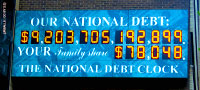 US national debt clock / billboard